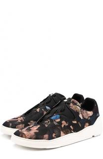 Текстильные кроссовки с притом и кожаной отделкой Dior