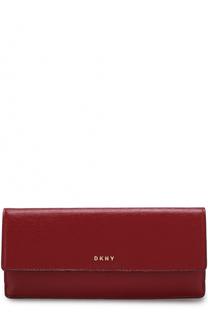 Кожаный кошелек с клапаном и логотипом бренда DKNY