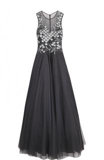 Приталенное платье-макси с пышной юбкой и вышивкой Basix Black Label