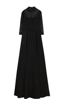 Приталенное платье-макси с воротником-стойкой и укороченным рукавом Basix Black Label