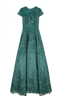 Приталенное платье-макси с коротким рукавом и вышивкой Basix Black Label