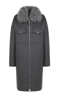 Шерстяной пальто с пуховой подстежкой и отложным воротником Moncler