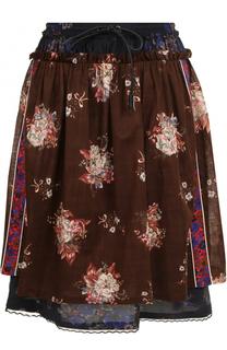 Хлопковая юбка-миди с принтом Coach