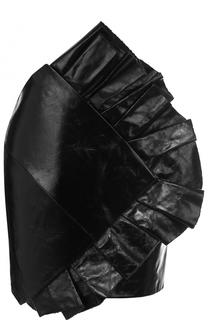 Однотонная кожаная мини-юбка с оборками Saint Laurent