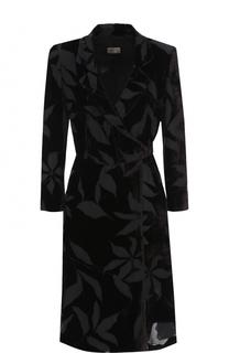 Платье-миди с запахом и укороченным рукавом Armani Collezioni