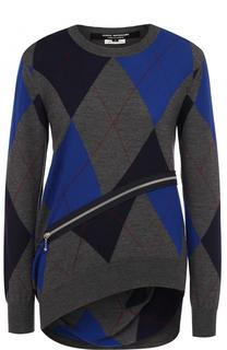 Шерстяной пуловер асимметричного кроя с круглым вырезом Junya Watanabe