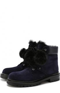 Замшевые ботинки Elba с помпонами Jimmy Choo