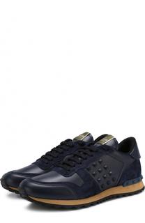Кожаные кроссовки Rockrunner с замшевой отделкой Valentino
