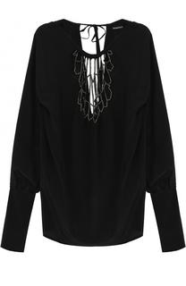 Шелковая блуза с удлиненным рукавом и круглым вырезом Ann Demeulemeester