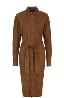 Замшевое платье-рубашка с поясом Polo Ralph Lauren