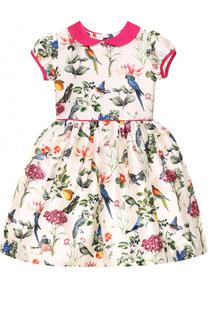 Платье из хлопка и шелка с принтом и контрастным бантом Oscar de la Renta