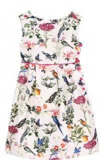 Мини-платье из хлопка и шелка с принтом Oscar de la Renta