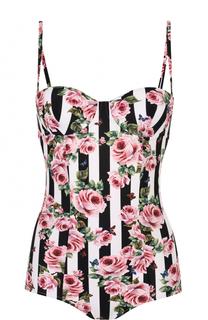 Слитный купальник в полоску с цветочным принтом Dolce & Gabbana
