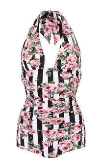 Слитный купальник с открытой спиной и драпировкой Dolce & Gabbana