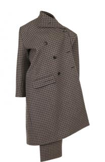 Шерстяное пальто асимметричного кроя в клетку Balenciaga