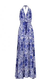 Шелковое платье-макси с открытой спиной и принтом Lazul