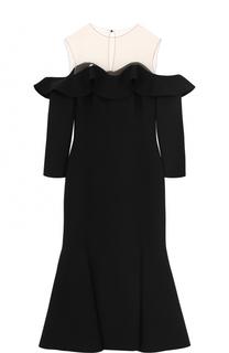 Шерстяное платье-миди с оборками и укороченным рукавом Oscar de la Renta