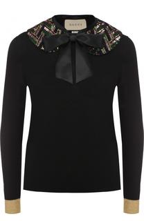 Пуловер из смеси кашемира и шелка с декорированным воротником Gucci