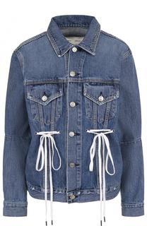 Джинсовая куртка со шнуровкой и потертостями Proenza Schouler