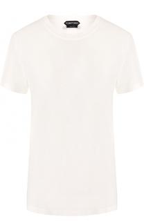 Однотонная хлопковая футболка с круглым вырезом Tom Ford