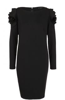Однотонное мини-платье с оборками и длинным рукавом Pietro Brunelli