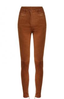 Однотонные замшевые джинсы-скинни Balmain