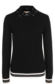 Шерстяной пуловер фактурной вязки с отложным воротником Tory Burch