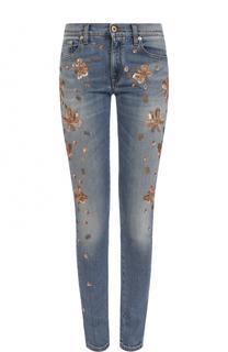 Джинсы-скинни с потертостями и контрастной вышивкой Roberto Cavalli