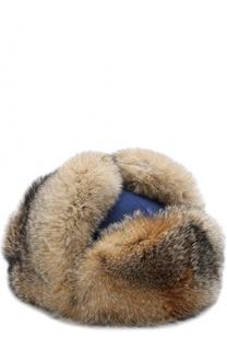 Кашемировая шапка-ушанка с меховой отделкой Loro Piana