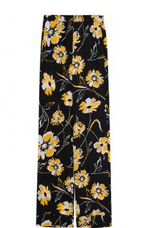 Шелковые брюки прямого кроя с цветочным принтом Michael Kors