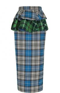 Шерстяная юбка-карандаш в клетку с оборками Tata Naka