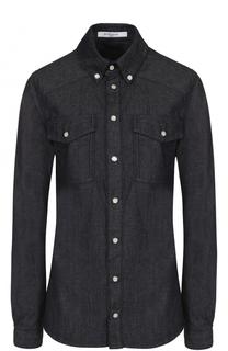 Приталенная джинсовая блуза с логотипом бренда Givenchy
