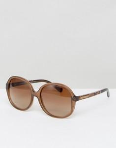 Солнцезащитные очки-оversize в круглой оправе Michael Kors - Коричневый