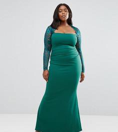 Платье макси с кружевными рукавами Goddiva Plus - Зеленый