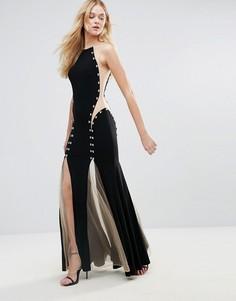 Платье макси с контрастными вставками Forever Unique - Черный
