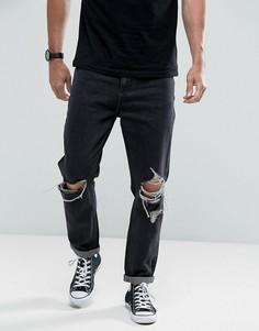 Черно-белые выбеленные джинсы с рваной отделкой Rollas - Черный Rollas