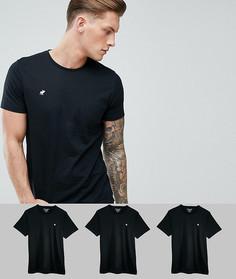 3 черные обтягивающие футболки с круглым вырезом Abercrombie & Fitch - Черный