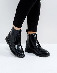 Черные ботильоны-броги со шнуровкой Dr Martens - Черный