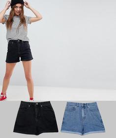 Комплект из 2 выбеленных голубых и черных джинсовых шорт в винтажном стиле ASOS - СКИДКА 14 - Мульти