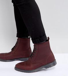 Бордовые кожаные ботинки на шнуровке для широкой стопы ASOS - Красный