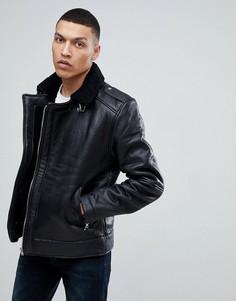 Кожаная куртка-авиатор на меховой подкладке Bellfield - Черный
