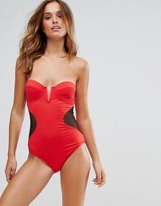 Слитный купальник с сетчатыми вставками Pistol Panties - Красный