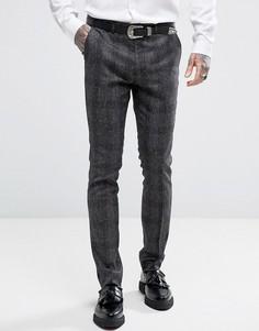 Зауженные брюки в клетку и крапинку Rudie - Серый