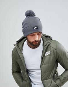 Серая шапка-бини с логотипом Nike 878119-021 - Серый