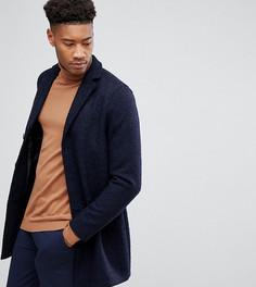 Фактурное пальто букле Stanley Adams TALL - Темно-синий