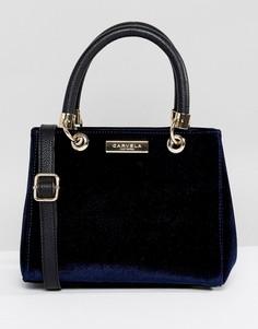 Маленькая сумка-тоут из бархата Carvela Dea - Темно-синий