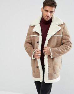 Бежевое пальто из искусственной овчины ASOS - Рыжий