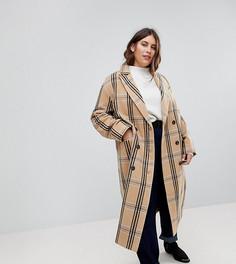 Шерстяное пальто в клетку ASOS CURVE - Мульти