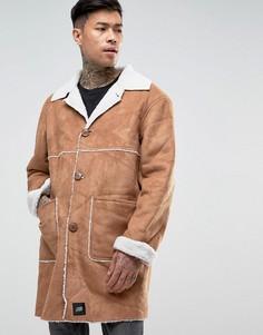 Светло-коричневая куртка из искусственной цигейки Sixth June - Рыжий