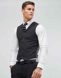 Темно-серый приталенный жилет ASOS - Серый